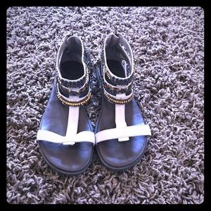 Jeweled gladiator leather sandals